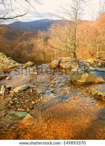 Landscape of Shenandoah National Park in Virginia seen from Dark Hollow Falls - stock photo
