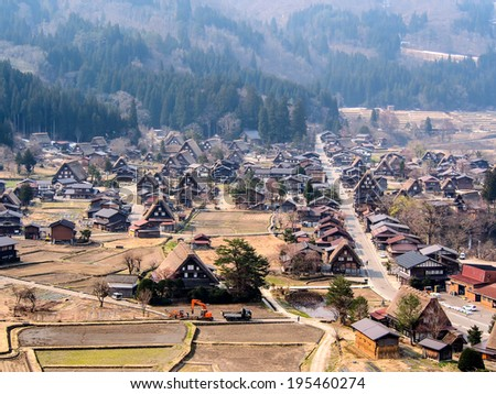 landscape of Shirakawa-go village.  This village is UNESCO world heritage site in Japan. - stock photo