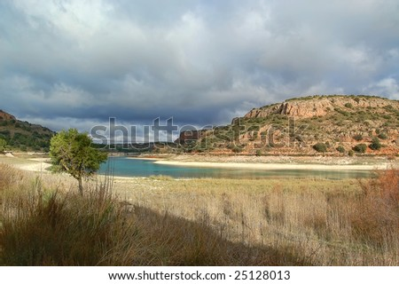 Landscape of silent, lagoons of Spain - stock photo