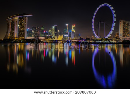 Landscape of Singapore city along night time