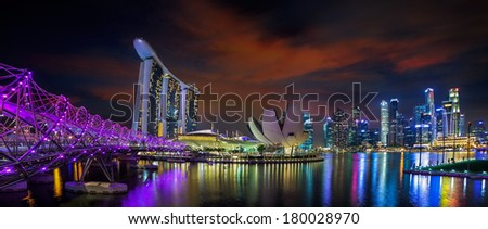Landscape of Singapore city in night urban view - stock photo