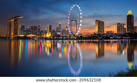 Landscape of Singapore city with sun set - stock photo