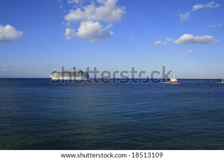 Landscape of sky and sea side with Cruise ship in Greece Rhodes