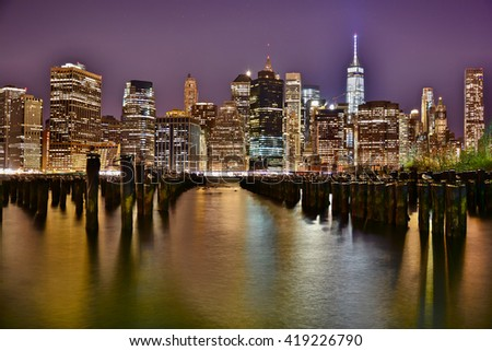 landscape of skyscrapers of New York at night from Brooklyn Park. in the photo are no trademarks
