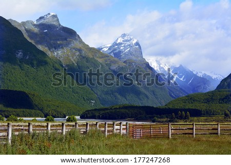 Landscape of snow cap mountain range near Glenorchy in the south Island, New Zealand. - stock photo