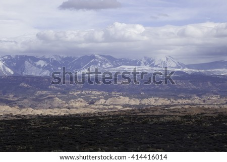 Landscape of snow capped mountains   for background