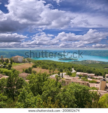 Landscape of south Provence. Sainte Croix lake. France. - stock photo