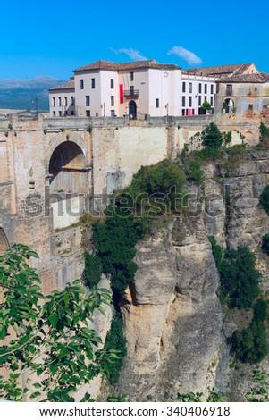 Landscape of Spanish city Ronda - stock photo
