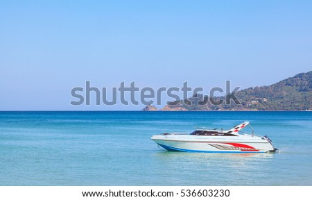 Landscape of speed boat in Patong Beach with blue sky background at  Phuket, Thailand.