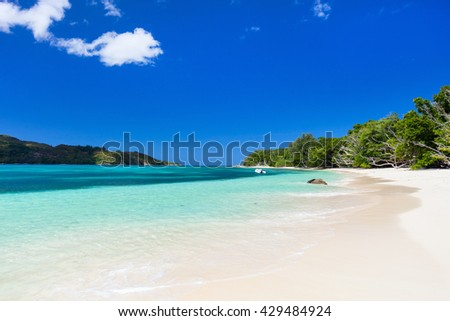Landscape of stunning tropical beach at Seychelles - stock photo
