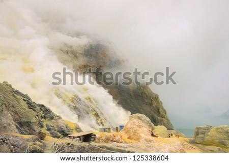 Landscape of Sulfur Mine at Khawa Ijen Volcano Crater Java Island Indonesia - stock photo