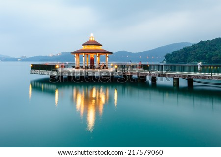 Landscape of Sun Moon Lake in Taiwan - stock photo