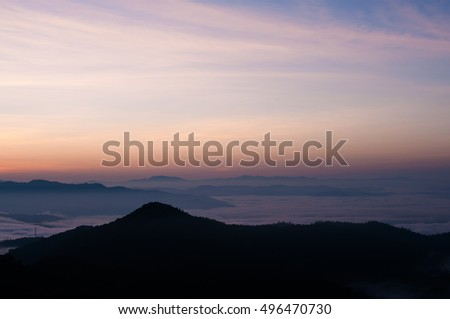Landscape of sunrise over mountain.background.