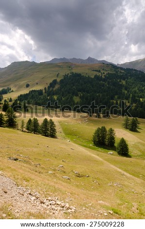 landscape of the Alps between Italy and France - stock photo