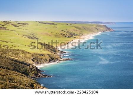 Landscape of the Australian coastline along South Australia's Fleurieu Peninsula - stock photo