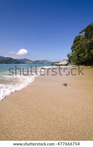 Landscape of the beach on the island of bald in Paraty Brazil