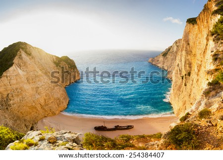 landscape of the beautiful beach with shipwreck in the island of Zante in Greece