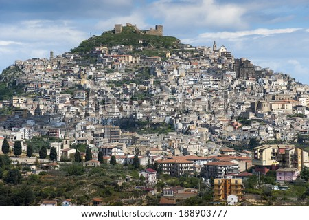 landscape of the city of Agira, Sicily, Italy, Europe