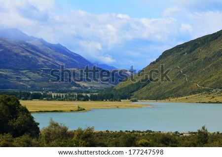 landscape of the diamond lake near Glenorchy in the south Island, New Zealand. - stock photo