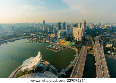Landscape of the high view Singapore financial district - stock photo