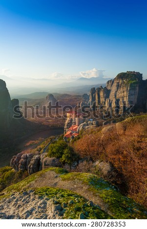 Landscape of the Holy Monastery of Rousanou in Meteora mountains, Greece