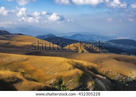 Landscape of the Long Tom pass with its rolling hills  in South Africa - stock photo