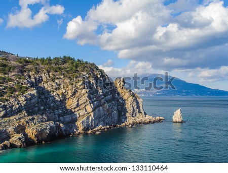 Landscape of the nature of the Black Sea, rock