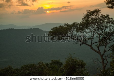 Landscape of the nature with sunset