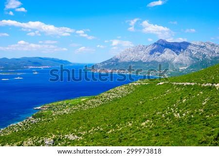 Landscape of the Peljesac peninsula, with Orebic and korcula, in southern Dalmatia, Croatia - stock photo