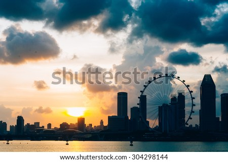 Landscape of the Singapore with beautiful sky - stock photo