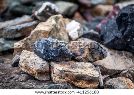 Landscape of the stones off coast Antarctica. Close-up - stock photo