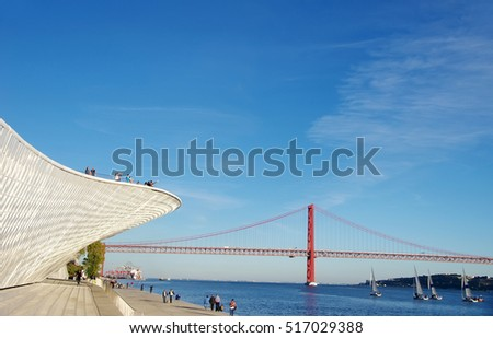 Landscape of the Tagus River with 25 abril bridge in the distance