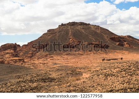 Landscape of the Timna Valley fanous by the ancient copper mines and King Solomon's pillars