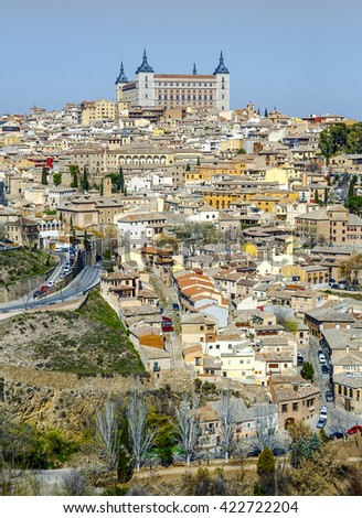 landscape of Toledo old city from Parador view point, Spain