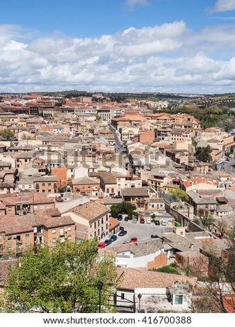 landscape of Toledo old city in sunny day, Spain - stock photo