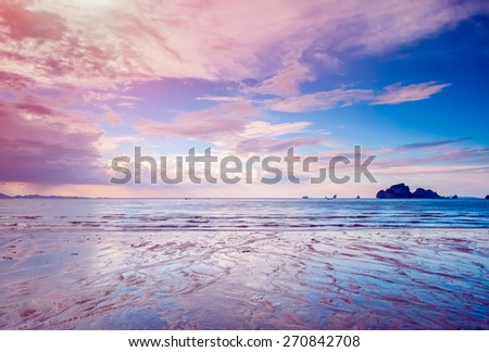 landscape of tropical island Ao Nang beach, Krabi province, Thailand - stock photo