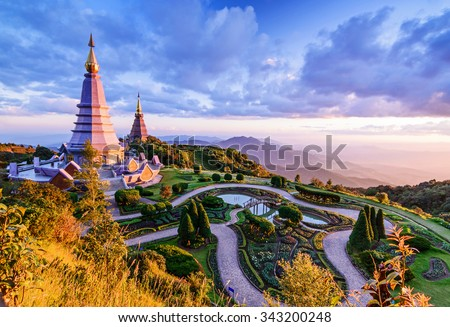 Landscape of two pagoda, place leisure travel in an Inthanon mountain, Chiang Mai, Thailand. - stock photo