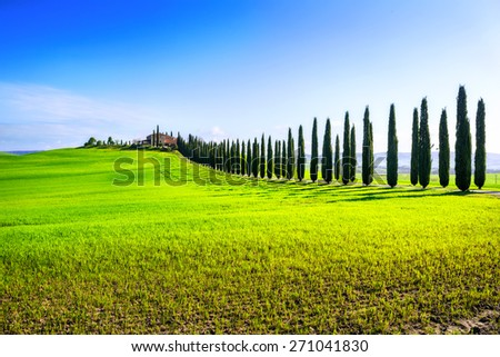 Landscape of Val d'Orcia province. Tuscany, Italy. - stock photo