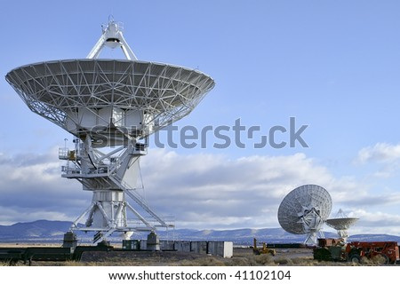 Landscape of Very Large Array of Radio Telescopes in New Mexico, USA - stock photo