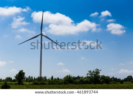 Landscape of wind turbine and blue sky background. Concept for wild energy, electricity, alternative energy, clean energy, renewable energy, business energy and technology.