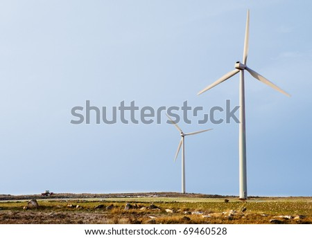 landscape of wind turbines