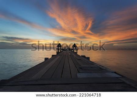 Landscape of Wood bridge  between sunset - stock photo