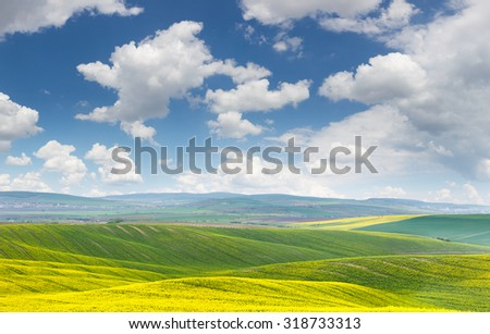 Landscape of yellow - green fields on the hills, blue sky with clouds - wonderful day, big size