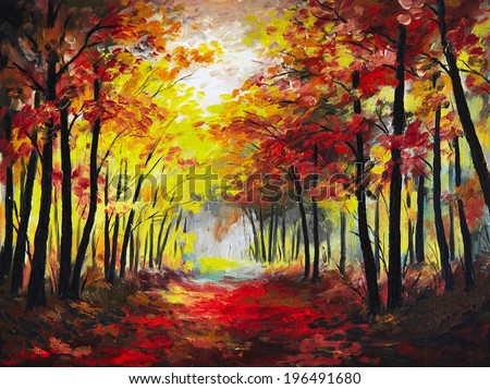 landscape oil painting - colorful autumn forest - stock photo
