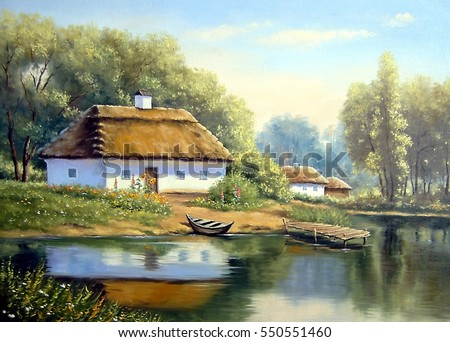 landscapeoil painting on canvas ukraine house in the forest boat and river - Free Painting Pictures