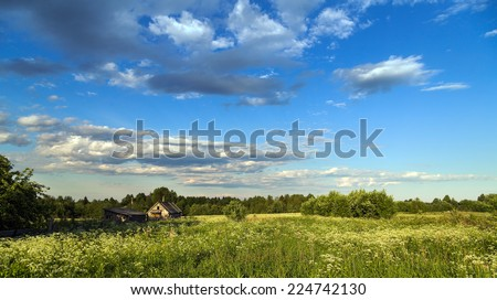 landscape old house in meadow - stock photo