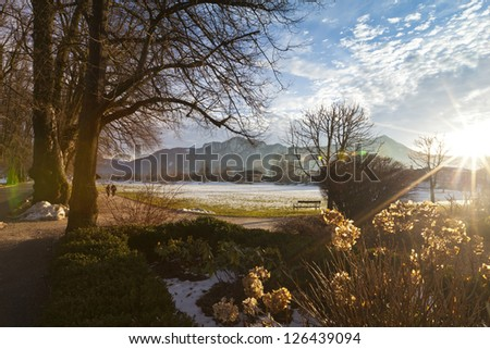 Landscape on a beautiful day in autumnn at lake Mondsee - Austria