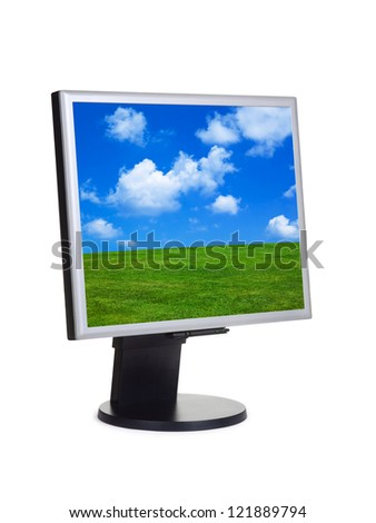 Landscape on computer screen isolated on white background - stock photo