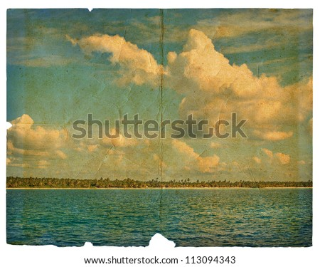 Landscape on old paper - the sea, the sky, the beach with palm trees. Dominican Republic