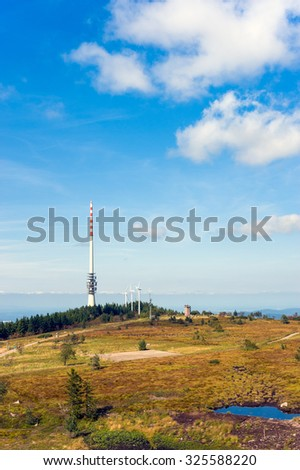Landscape on the Hornisgrinde with telecommunications tower of German Telekom and wind power stations near Seebach, Black Forest, Baden-Wurttemberg, Germany, Europe